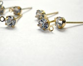 Reserved listing for MM*************gold earring post, rhinestone crystal and loop, wedding,bride, 40pcs