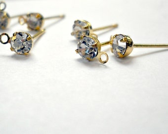 gold earring post, rhinestone crystal and loop, wedding,bride, 20pcs