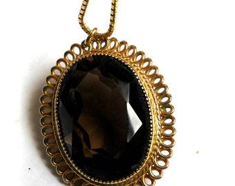 topaz gold pendant, vintage Catamore, sale, 12 karat gold, smokey gemstone