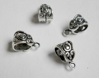 silver floral bails, antique fancy style, european bead charm, 12 pcs