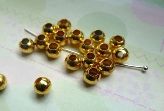 5mm gold beads, round spacer, 40pcs