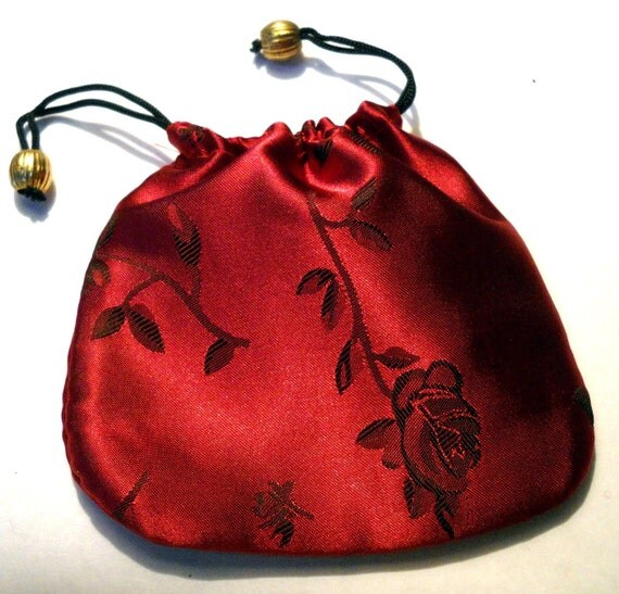 jewelry gift bag, silk brocade with drawstring, clearance sale 3pcs
