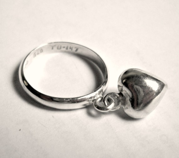 sterling heart ring,  vintage 60's, charm, silver, size 7
