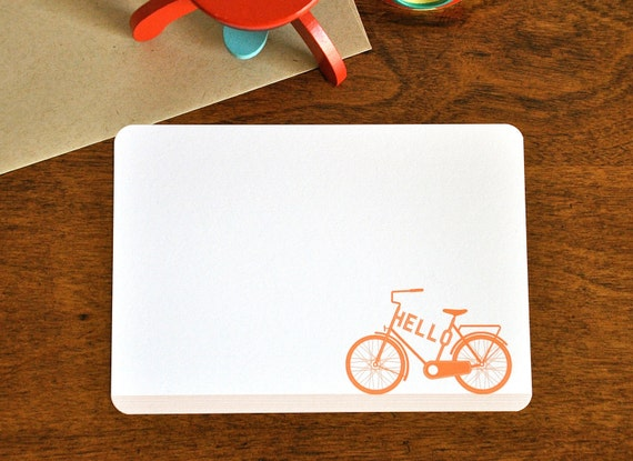 Hello Vintage Bicycle Flat Note Cards . Typographic Stationery Set of 16
