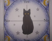 Midnight Black Cat Scrying Dowsing Mat,  Wicca Magick Pagan Yule Wiccan Druid