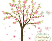 Pink Flowering Tree & Birds - Personal Or Small Commercial Use (P030)