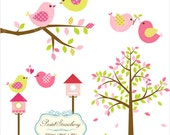Pink & Green Trees Sets - Personal Or Small Commercial Use (P028)