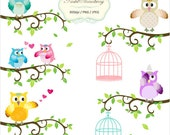 6 Owls & 6 Bird Cages - Personal Or Small Commercial Use Clip Art (P022)