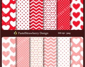 Red & Pink Valentine Papers - Personal Or Small Commercial Use (S016)