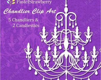 5 Chandeliers & 2 Candlestics - White (P008)