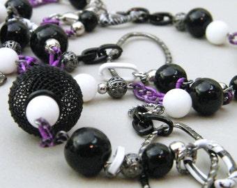 Tim Burton Inspired Necklace - Beaded Stone Glass Gunmetal Necklace - Contrasting Bold Black White Purple Unique Design