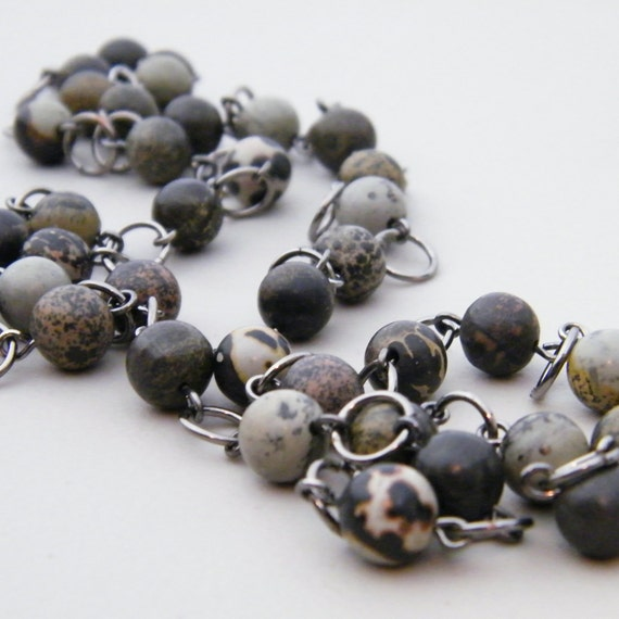 For the Wild Things - Natural Jasper Stone Beaded Necklace - neutral gray brown black gunmetal