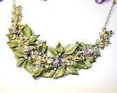 "MY ""Betty's Fairy Garden"" Intricate Rose vintage borealis Shimmer Polymer Clay Statement Bib & Free handmade eco jewellery bag"