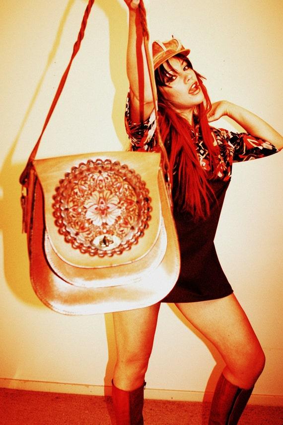 HIPPY hand TOOLED LEATHER Handbag Saddlebag Purse 1960s 70s Tool Brown Plaited Strap Painted spiral geometric Design art nouveau Boho