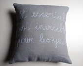 French quote pillow cover - 16x16 embroidered linen pillow cover - light grey linen - made to order