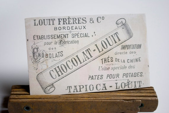 Vintage french trading card - antique french chocolate shop advertising