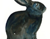 BUNNY-5x7 Print-Art Print-animal Watercolor Print-Giclee Print-Nursery decor