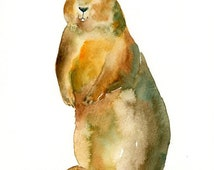 GROUNDHOG-ACEO print-Art Print-animal Watercolor Print-nursery decor-children art-home decor