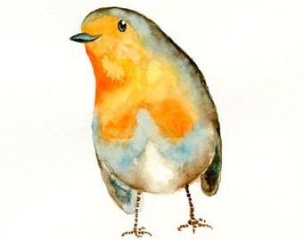 ROBIN 5x7 Print -Art Print-Bird Watercolor Print-Giclee Print-