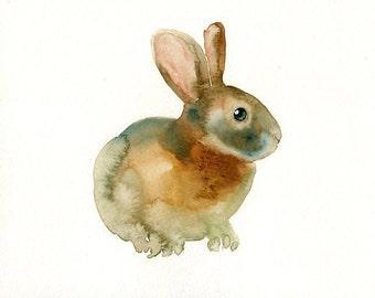 BUNNY 7x5inch Print-Art Print-animal Watercolor Print-Giclee Print-Nursery decor-Playroom Decor-Nursery wall art