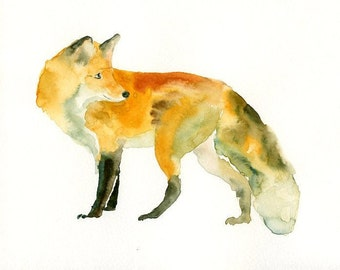 FOX-7x5inch Print- Art Print-animal Watercolor Print-Giclee Print-