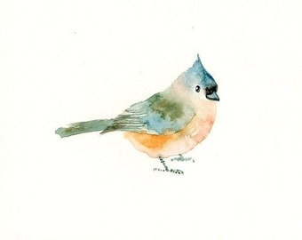 TITMOUSE -7x5inch print-Art Print-Bird Watercolor Print-Giclee Print-