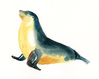 SEA lion 7x5inch-Art Print-animal Watercolor Print-Giclee Print