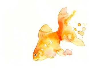 GOLDFISH -ACEO print-Art Print-animal Watercolor Print-Nursery art-wall decor