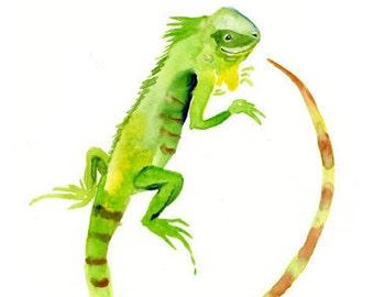 ALPHABET nursery art print- ANIMALS alphabet- I for Iguana 5x7inch Print-baby wall art-kids wall art-Children art