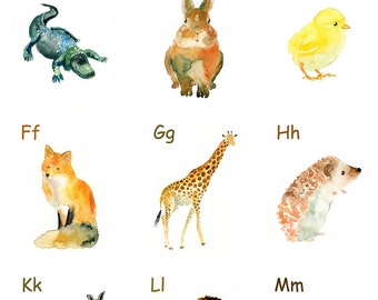 Animal ALPHABET POSTER 11x14inch Print (Large size)-nursery decor-children-Learning-ABC Animals-Nursery Baby
