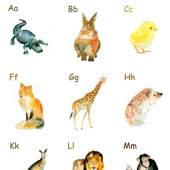 Animal ALPHABET POSTER-11x14 Print (Large size)-Archival Print-Poster-children's room-Alphabet Art Print-Children Wall Art