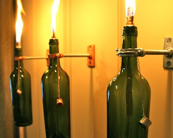 2 Wine Bottle Oil Lamps  - INDOOR  - Hanging Lantern - Copper Wall Sconce - Christmas gift idea  - Hurricane Lamp