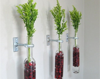 2 Wine Bottle Wall Flower Vases -  red cranberries - Christmas Wall Decor - Christmas Vase -copper, silver, or iron hardware, cranberry