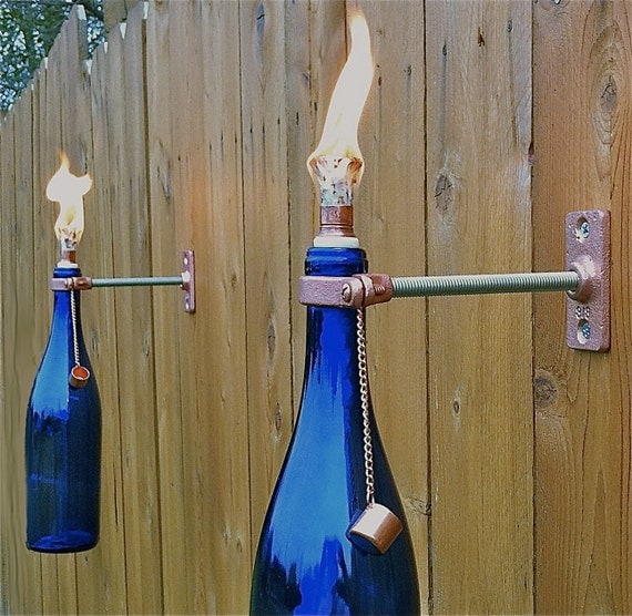 2 Cobalt Blue Wine Bottle Tiki Torches - Mother's Day Gift - Outdoor Spring decoration-  Outdoor Lighting -  - Hurricane Lamp -