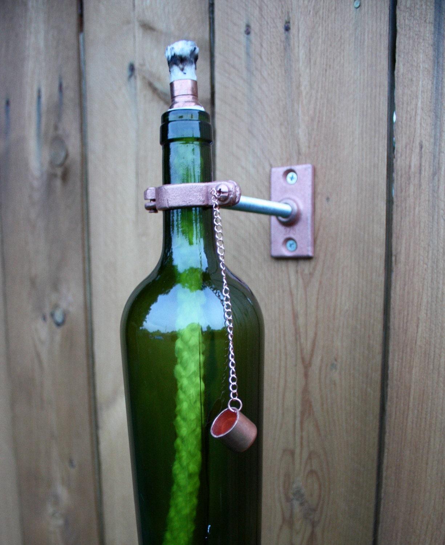 1 Green Wine Bottle Tiki Torch Modern Outdoor Lighting