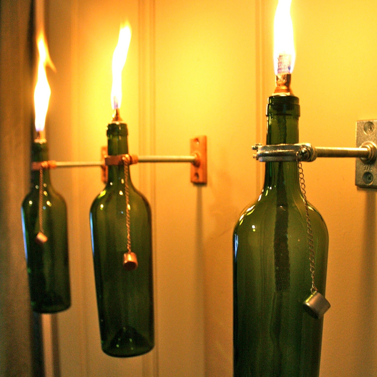 2 Wine Bottle Oil Lamps - INDOOR - Hanging Lantern - Copper