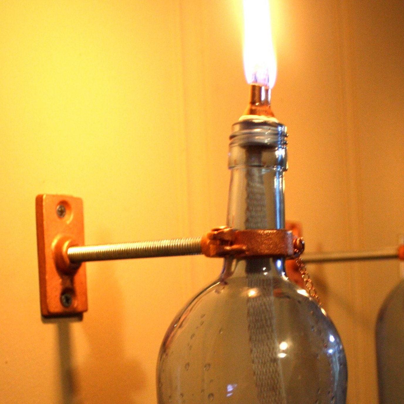 2 Blue Wine Bottle Oil Lamps - INDOOR - Modern Lighting - Hurricane Lantern  - Wall Light - gift idea for mom - 2 Blue Wine Bottle Oil Lamps - INDOOR - Modern Lighting - -