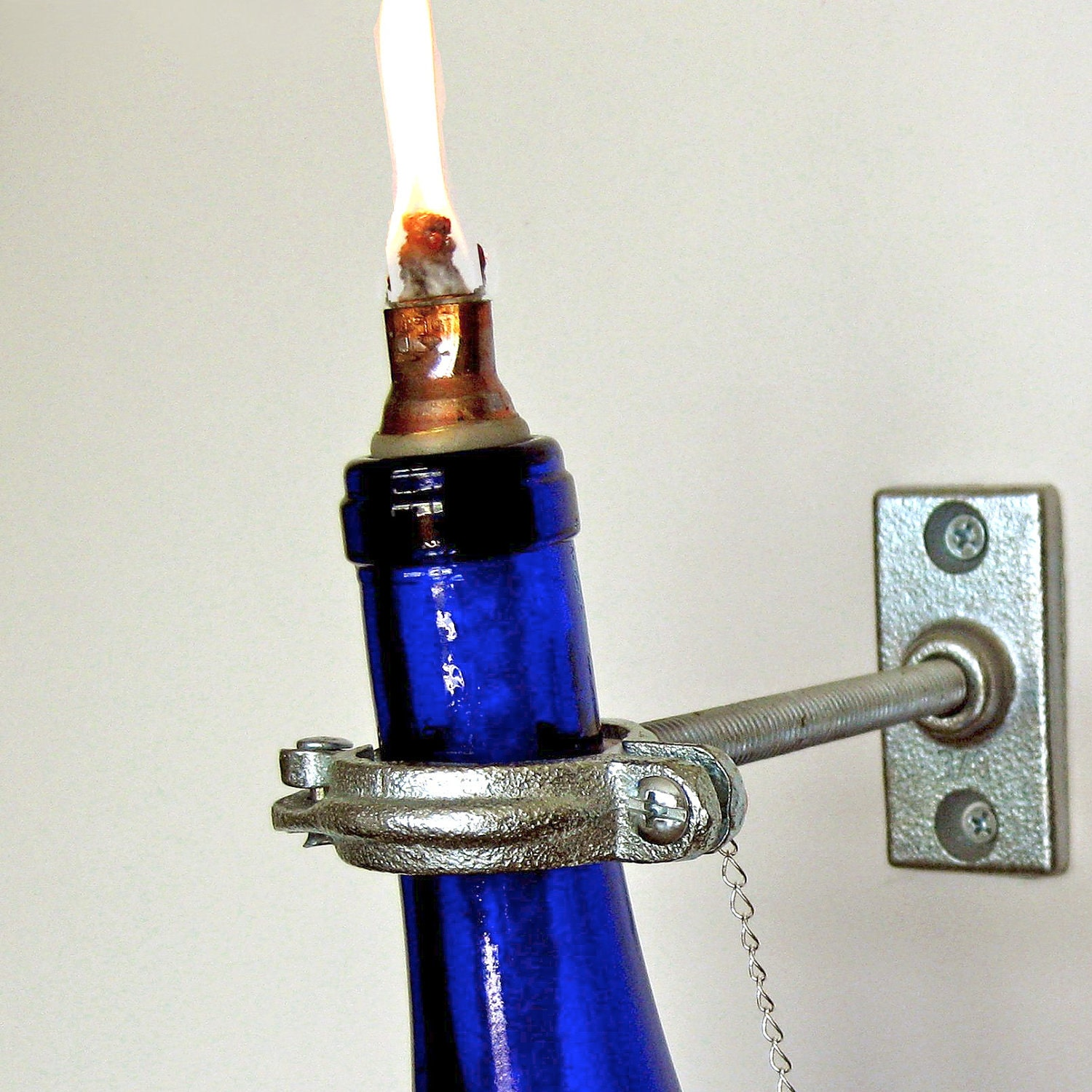2 Blue Wine Bottle Oil Lamp - INDOOR - Wall Decor - Hanging