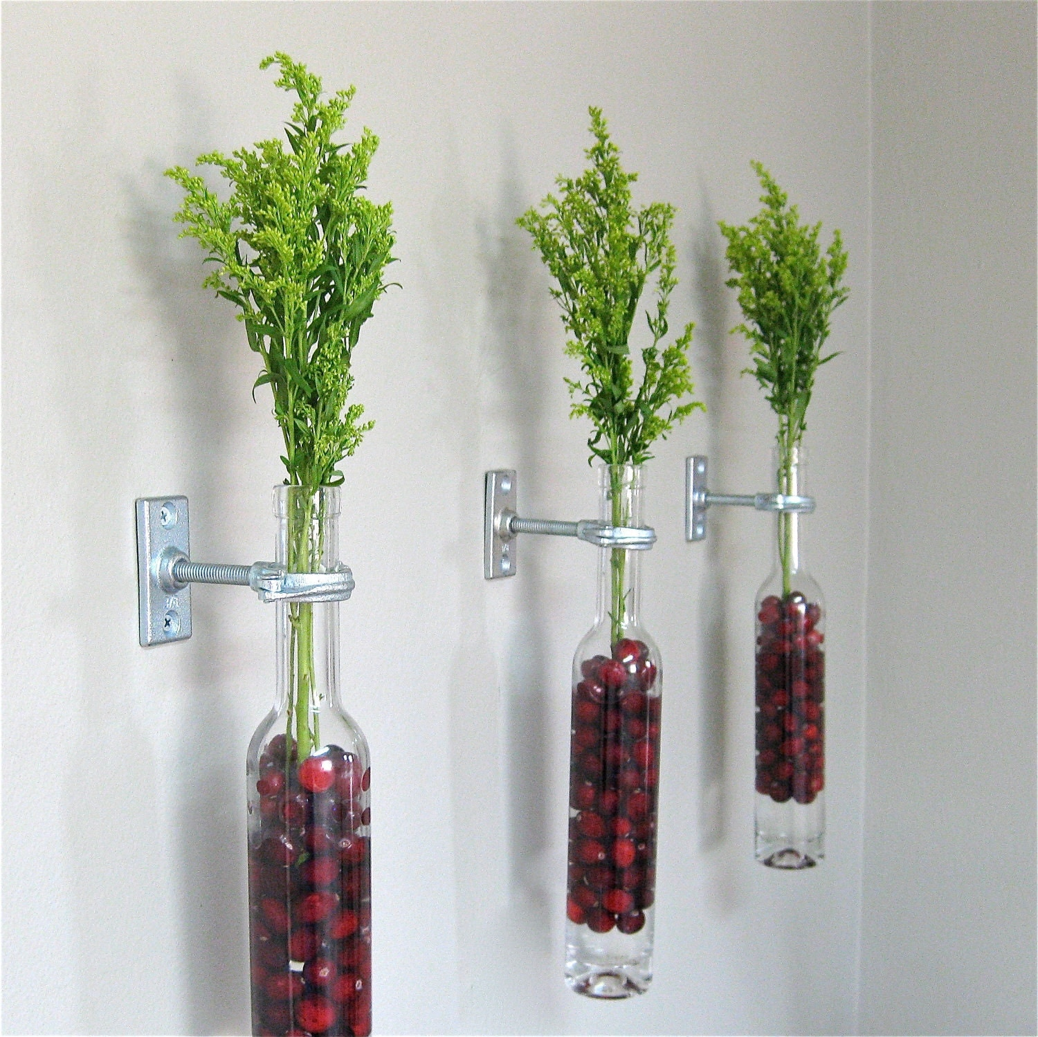 Wall vases for flowers - 2 Wine Bottle Wall Flower Vases Red Cranberries Christmas Wall Decor Christmas Vase Copper Silver Or Iron Hardware Cranberry