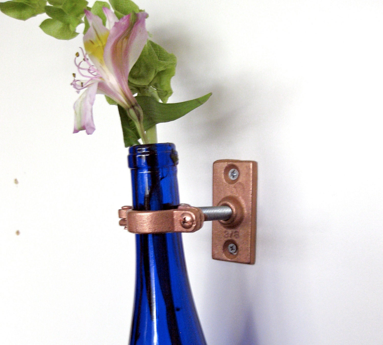 3 cobalt blue wine bottle wall flower vases wall vase for Wine bottle flower vase