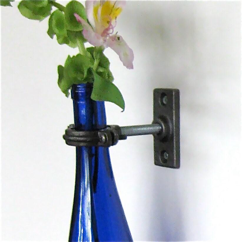 Cobalt blue wine bottle wall flower vase hanging vase for How to make flower vases out of wine bottles