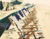 Beach Ready- Beach Chairs and Umbrellas Ready for the Day- Summer Sun- Vintage Tones- Beach Photography- 8x12 Fine Art Print - kellynphotography