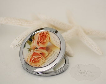"Photo Mirror Compact- ""Romantic Solitude"", Orange Rose Photograph, 3"" Double Sided Mirror- Engravable Gift Item"