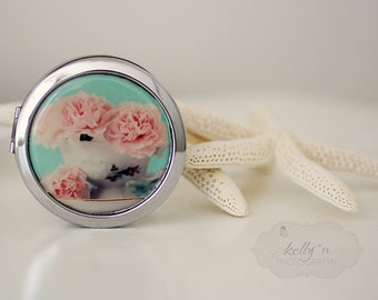 "Photo Compact Mirror- ""Vintage Cuppa"", Pink flower/Teacup Photograph, 3"" Double Sided Compact Mirror- Engravable Gift Item"