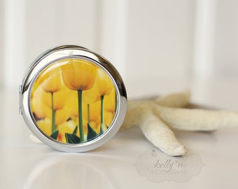 "Photo Compact Mirror- ""Tiptoed"", Yellow Tulips Photograph, 3"" Double Sided Mirror- Engravable Gift Item"