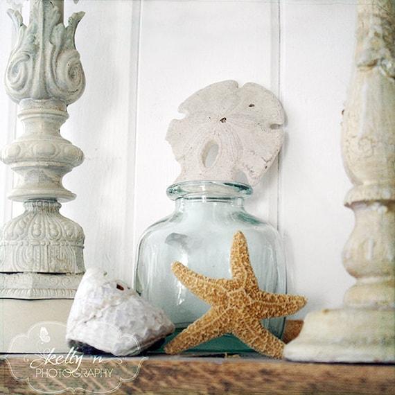 Seashells and Starfish Photography- Beach Cottage Decor, Still Life Photo, OceanTreasures, Blue White, Starfish Photo, Seashells Print
