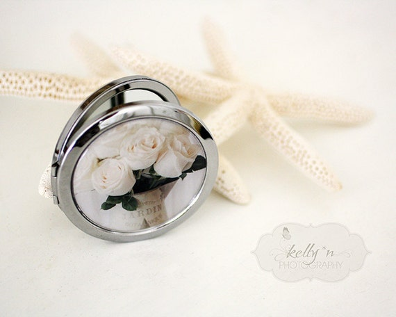 "Photo Mirror Compact- ""Blanc du Jardin"", White Rose photograph, 3"" Double Sided Mirror- Engravable Gift Item"