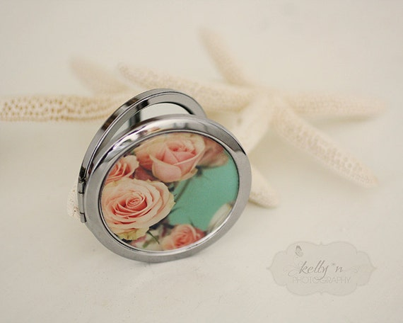 """Photo Mirror Compact- """"Sophisticate"""", Pink Rose Photograph, 3"""" Double Sided Mirror- Engravable Gift Item"""