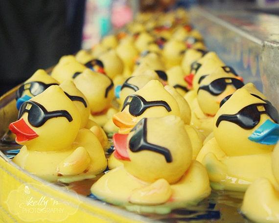 Cool Ducks- Rubber Duck Photograph- Carnival Game- Yellow- Nursery Decor- Childrens Decor- Fair Photography- 8x10 Fine Art Print