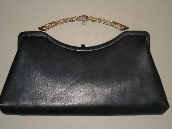 Vintage Black Leather Clutch with Gold Handle